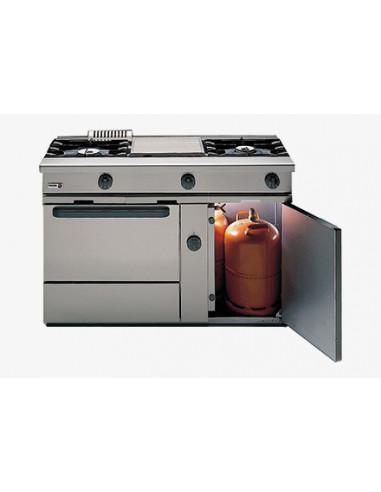 Cocina a Gas 3 fuegos con Horno y grill